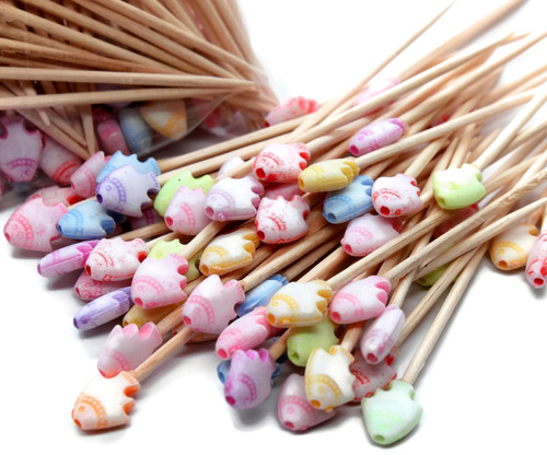 100 Pastel Fish Acrylic Bead Seashell Toothpicks