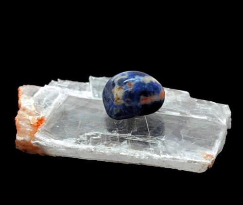 Polished Blue Sodalite Stone - Selenite Crystal Slab Healing
