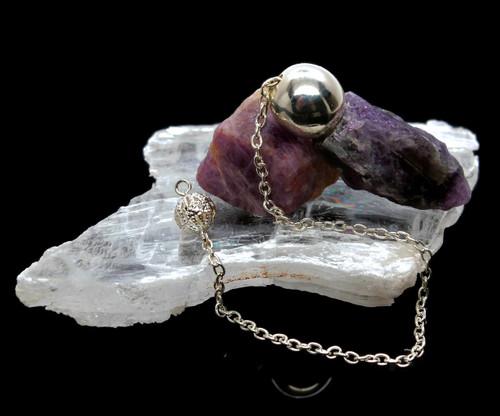 Pendulum Amethyst with Selenite Healer Slab