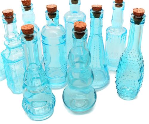 Blue Vintage Glass Bottles with Corks, Assorted, Set of 10