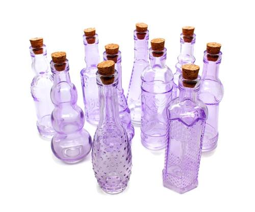 Purple Vintage Glass Bottles with Corks, Assorted, Set of 10