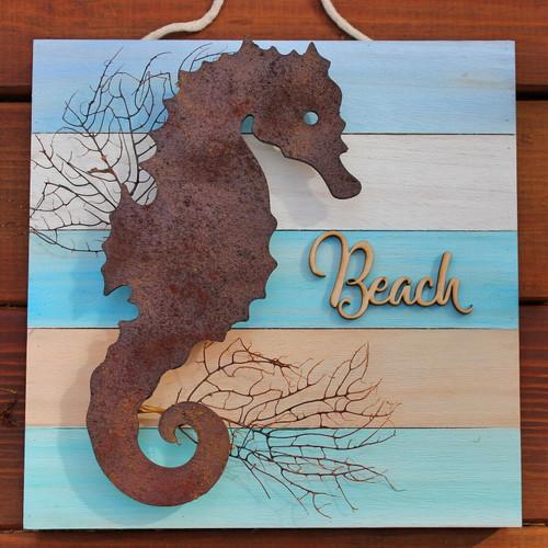 Handmade Rust Seahorse Pallet Wood Beach Wall Art
