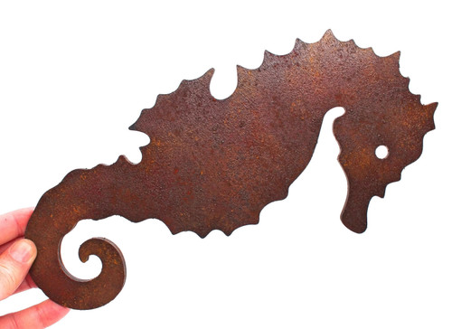 Hand Painted Rust Seahorse Cutout