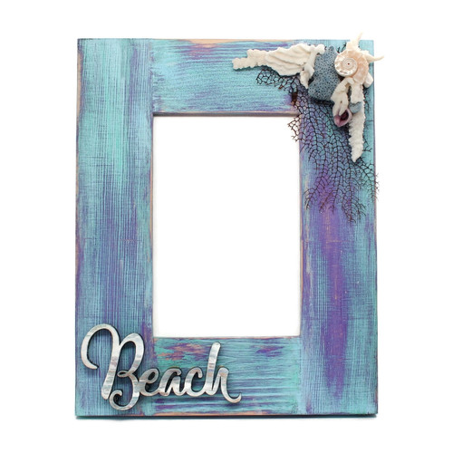 Distressed Wood Beach Picture Frame
