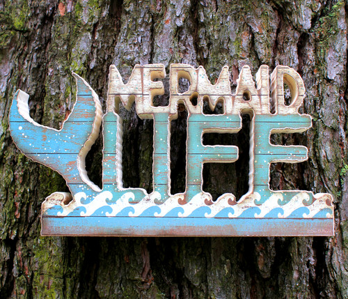Mermaid Life Tail and Waves Cut Out Wood Table Sign