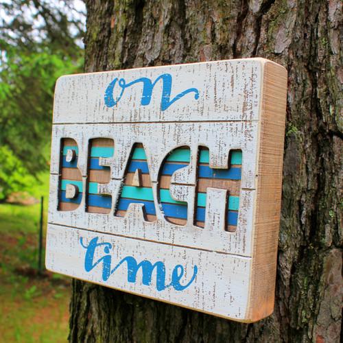 """Wood Slat Box Sign """"On Beach Time"""" Beach Decor"""
