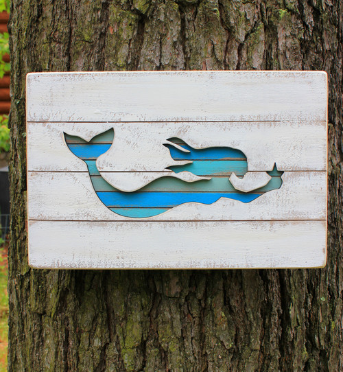 Mermaid Slate Box Cut Out Wood Table Sign