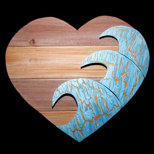 "Blue Wave Heart 15"""