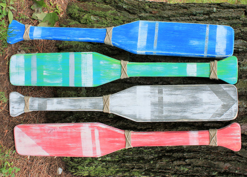 4 Distressed Wood Oars, Wood Oar, Rustic Beach Decor 30""