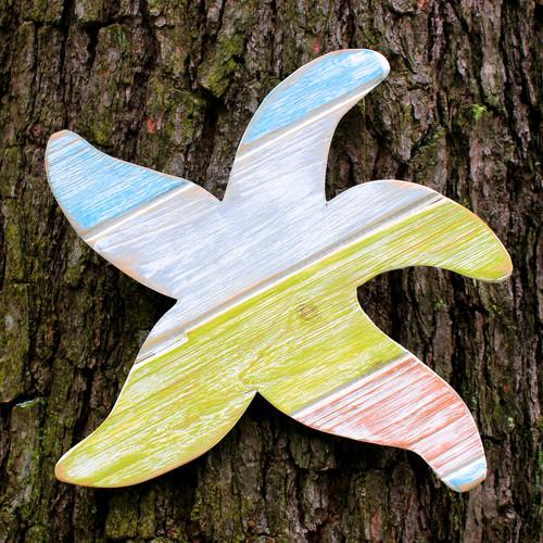 "Distressed Handmade Wood Starfish, 15"" Beach Decor"