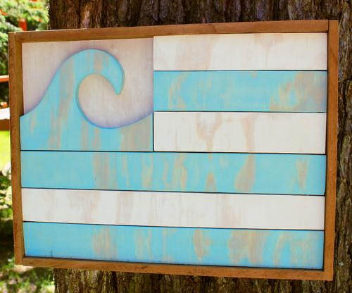 Handemade Wooden Flag Clean Oceans, Wall Art