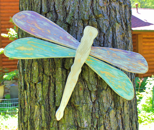 Dragonfly Distressed Wood Panel Garden Decor, Handmade