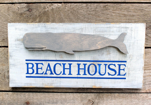 Beach House Whale Wood Sign Plaque Nautical Coastal Beach Decor