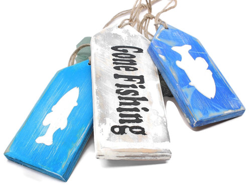 Gone Fishing Wood Hang Tags, Hand Made Sign, Rustic Decor