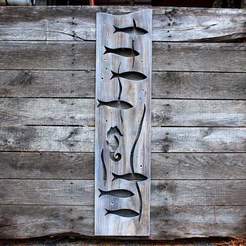 Handcrafted Distressed Wood Fish, Seahorse Panel, 38""