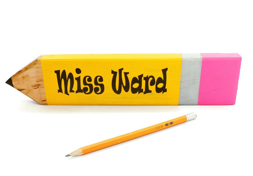 Personalized Giant Wood Pencil Teacher Desk Name Plate