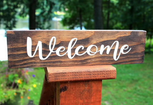 Hand Crafted Wood Welcome Sign