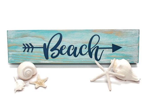"Rustic Wood Sign ""Beach"" Sign, Beach Sign Decor with Arrow"