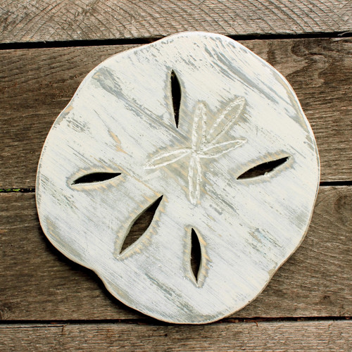 "Distressed Handmade Wood White Sand Dollar, 10"" Beach Decor"