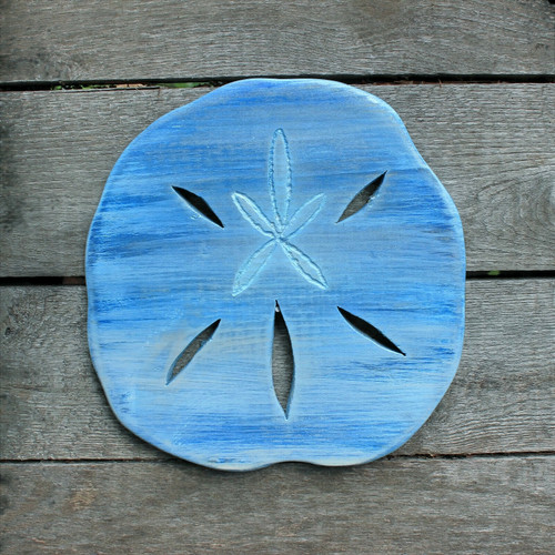 "Distressed Handmade Wood Blue Sand Dollar, 10"" Beach Decor"