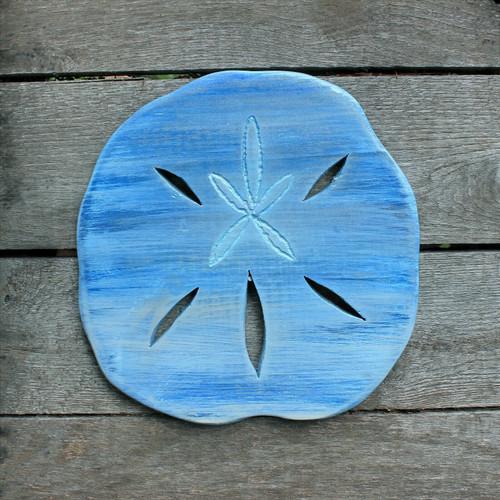 "Distressed Handmade Wood Blue Sand Dollar, 10"" Beach Decor"