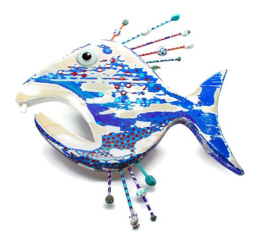 """Grumpy Gill, Fish Wall Art, Fish Carving, Coastal Decor 12"""""""