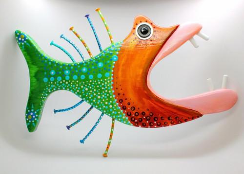 "Sassy Bassy, Fish Wall Art, Fish Carving, Coastal Decor 14"""
