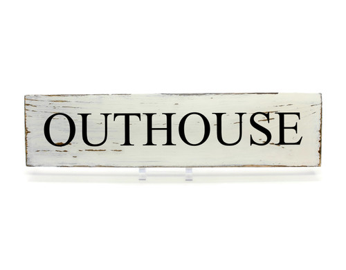 """Rustic White Wood Sign """"OUTHOUSE"""" Sign Country Decor"""