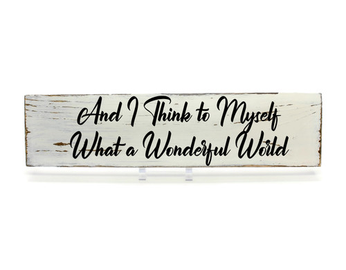 "Rustic White Wood Sign ""Wonderful World"" Sign Country Decor"