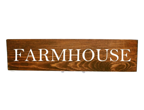 """Natural Rustic Stained Wood Sign """"FARMHOUSE"""" Sign Country Decor"""