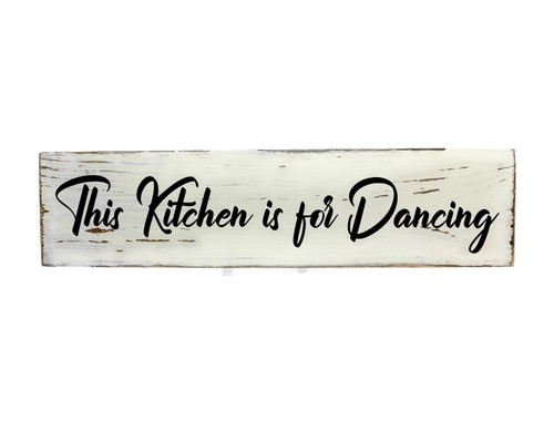 "Rustic White Wood Sign ""DANCING"" Sign Country Decor"