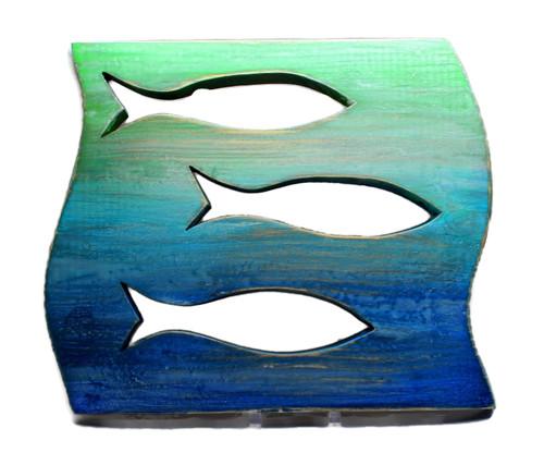 Hand Crafted Distressed Wood Fish Panel Beach, Lake Decor