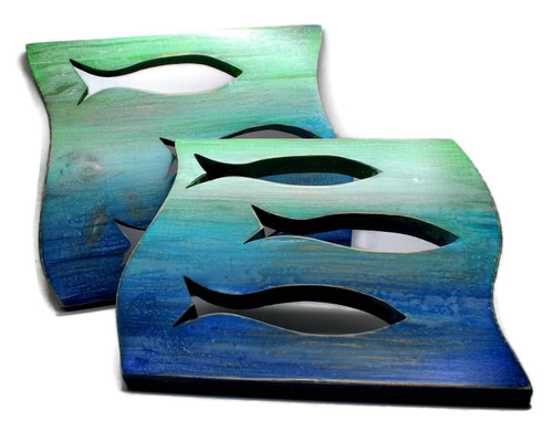 Distressed Wood Fish Panels