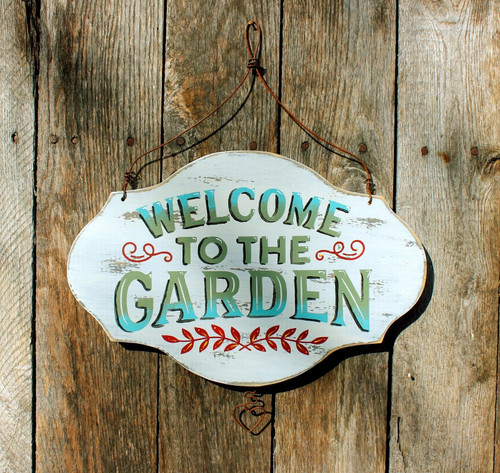 Welcome to the Garden, Hand Painted Rustic Wood Sign