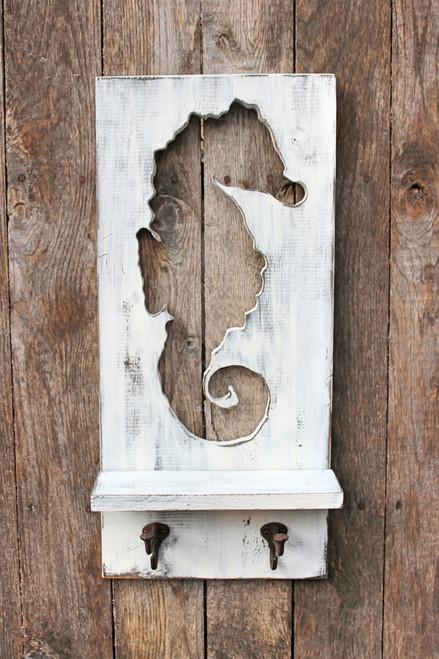 Wood Seahorse Towel Rack Distressed Shelf Coat, Towel Rack