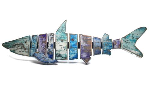"Hand crafted Shark Wood Plank Wall Decor, 26"""