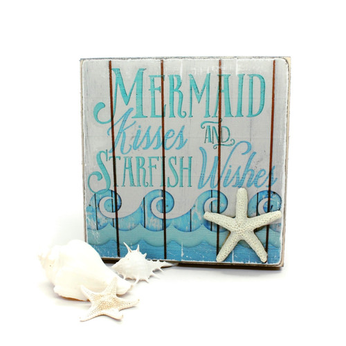 Rustic Mermaid Kisses and Starfish Wishes Sign Beach Decor