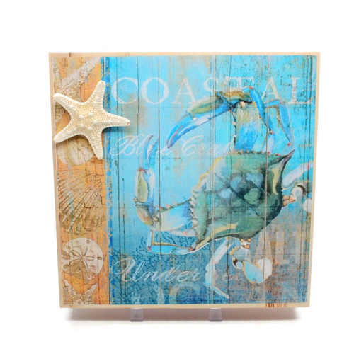 Rustic Blue Crab Motif Wood Table Sign Beach Decor