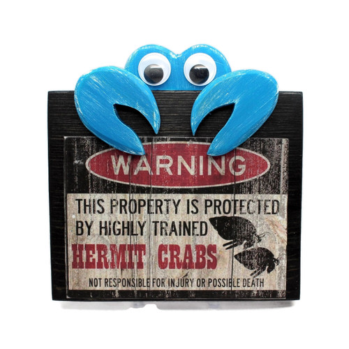 "Handmade Funny Wood Sign ""Warning Hermit Crab"" Beach Decor"