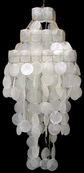 White Capiz Shell 3 Tier Wind chime Chandelier