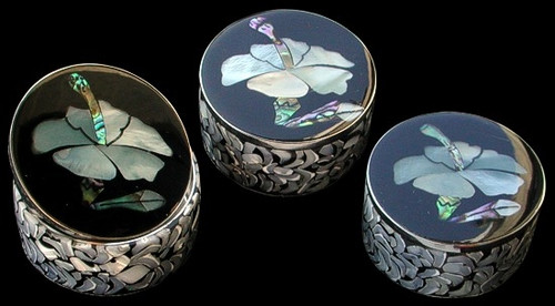 Paua Abalone Shell Flower Design Pill Box Trinket Box