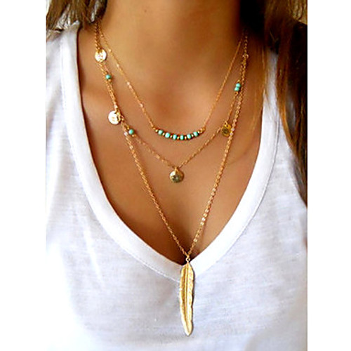 Necklace, Gold Feather Pendant Multilayer Chain Turquoise Beads