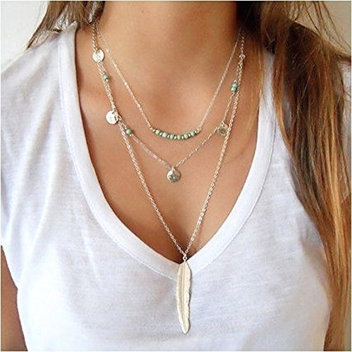 Necklace, Silver Feather Multilayer Chain Turquoise Beads