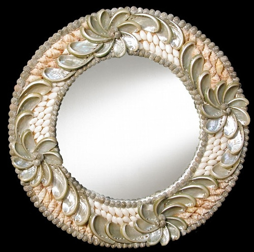 "Haliotes Shell Round Mirror 14"" Great Wedding Gift"