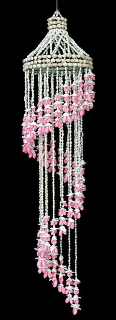 Shell WindChime Pink Bubble Seashell Spiral 44 inch