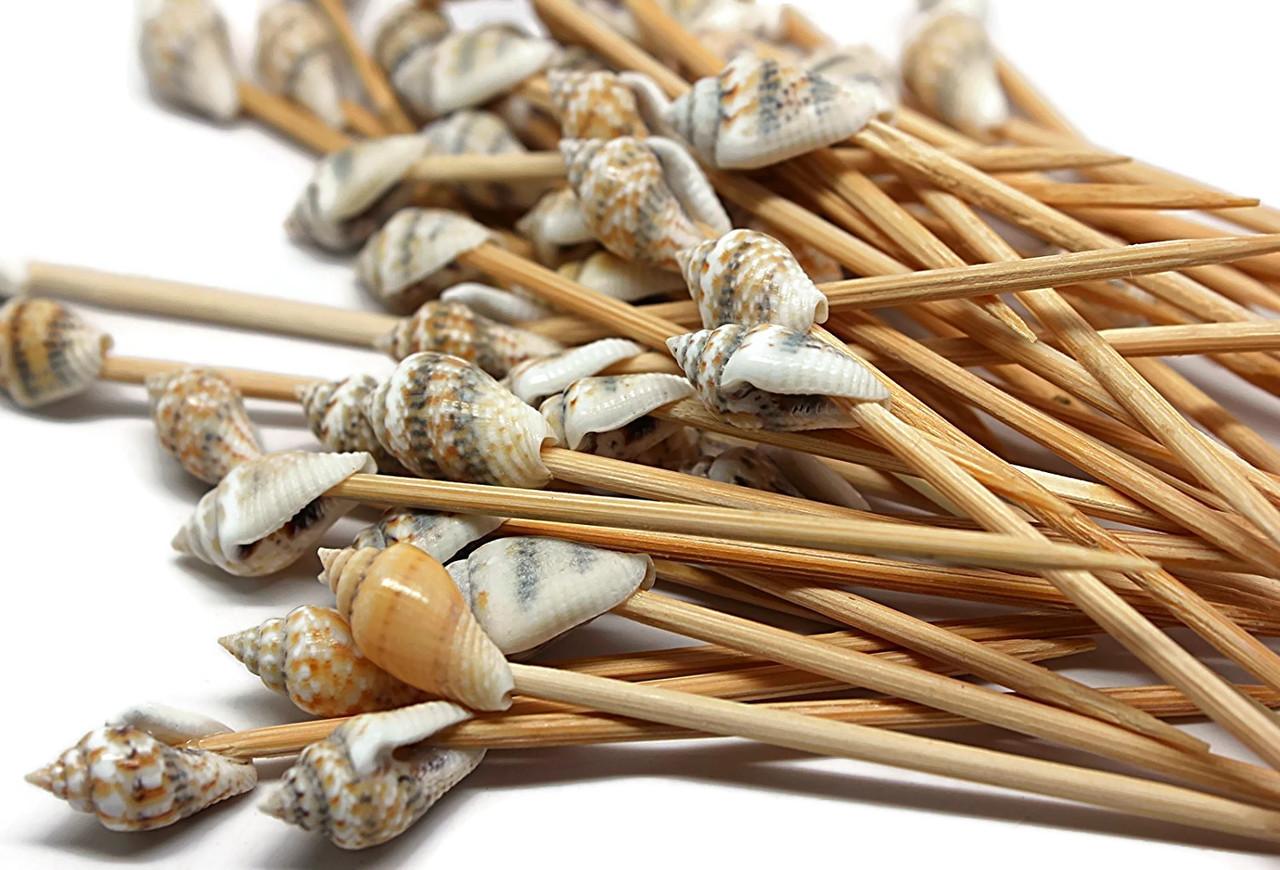 100 Seashell Toothpicks for Beach Wedding Shell Tiki Bar