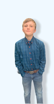 Boy's Plaid Shirts, perfect for Christmas pictures! They come in red, navy blue, and green.  Sizing:  Medium 10-12  Large 14-16  X-Large 16-18