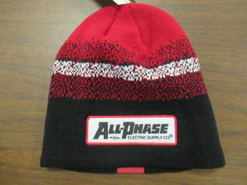 Custom All-Phase Black Red White Patch Beanie