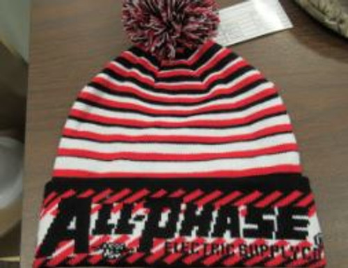 Red/White/Black Pom Pom Beanie with weaved APE logo into the beanie