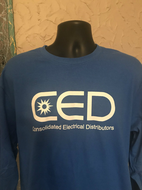 CED Port Authority Royal Blue Long Sleeve T-Shirts